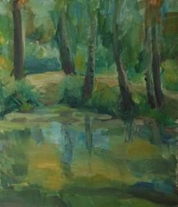 Этюд «Лесное озеро». А. Шандин. 2001. 20х23, картон, масло