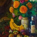 Осенний натюрморт с тыквой, рябиной, грибами, луком и портвейном (Autumn still life #001)