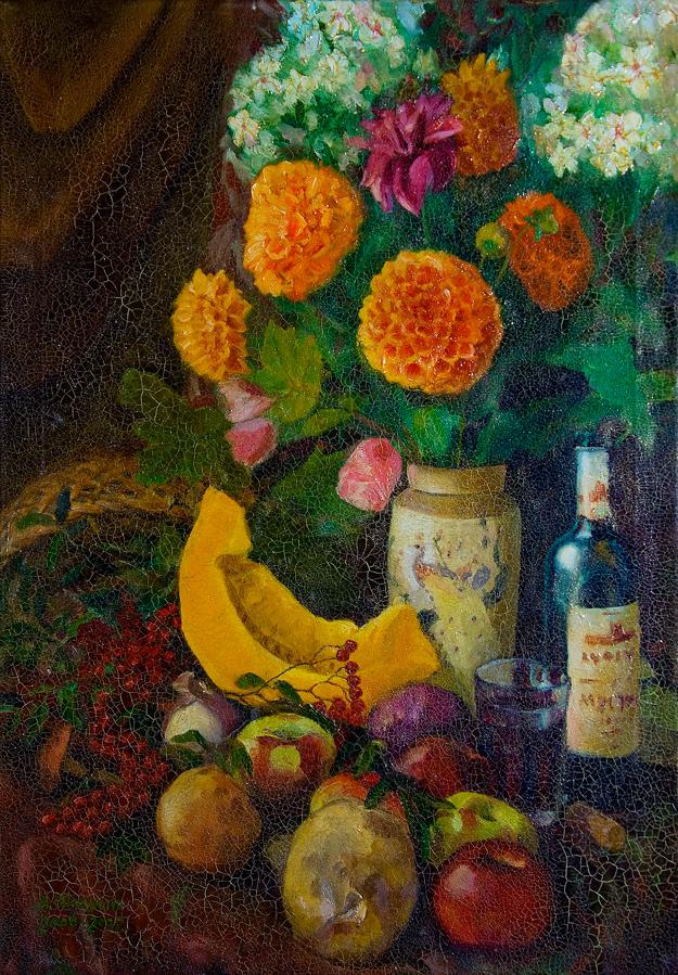 Осенний натюрморт № 001 с тыквой, рябиной, грибами, цветами и портвейном