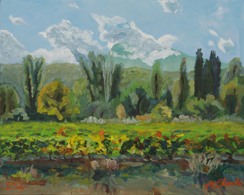 Alushta's vineyards #2. Oil on canvas. 100x80cm. Alexey Shandin. 2012